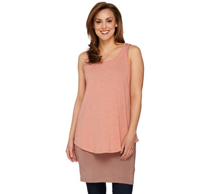 LOGO by Lori Goldstein Straight Hem Knit Tank with Overlay Tank