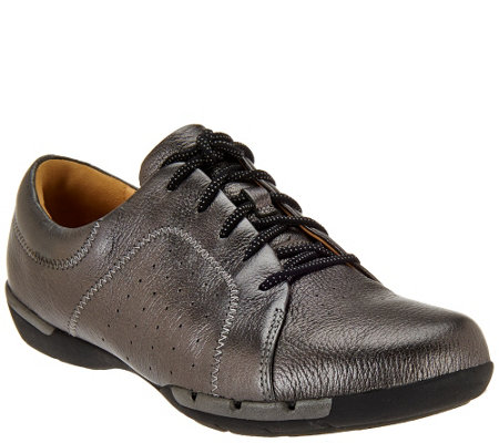 """As Is"" Clarks Un.Structured Leather Lace-up Shoes - Un.Honey"
