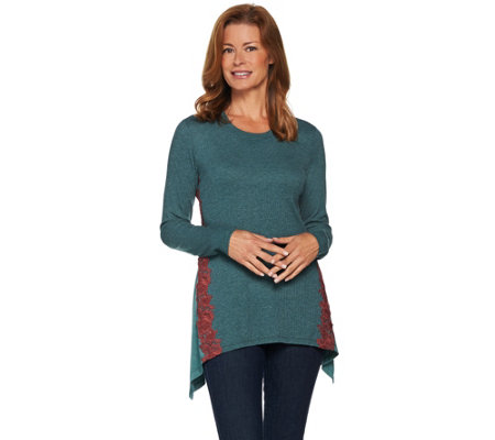 LOGO Lounge by Lori Goldstein Knit Top with Godets and Contrast Lace