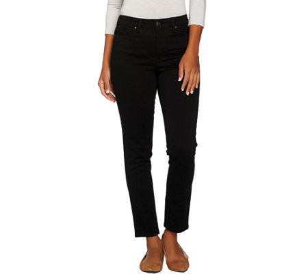 Denim & Co. 5-Pocket Colored Denim Slim Straight Leg Ankle Jeans
