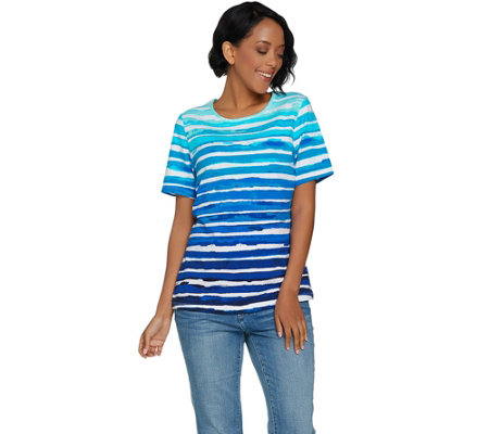 Denim & Co. Painterly Stripe Printed Short Sleeve Knit Top
