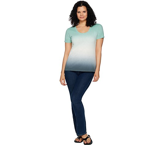 Lisa Rinna Collection Short Sleeve Gradient Tie-Dye Top