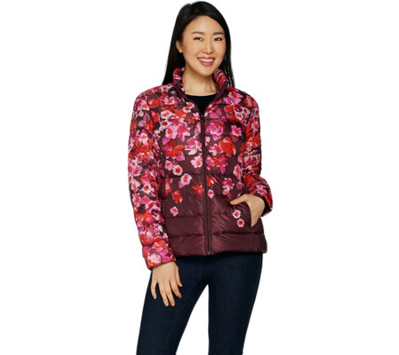 Isaac Mizrahi Live! Packable Engineered Floral Print Puffer Jacket