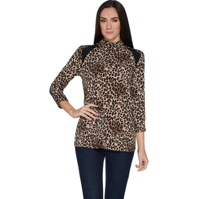 Susan Graver Printed Liquid Knit Mock Neck Top w/ Solid Insets