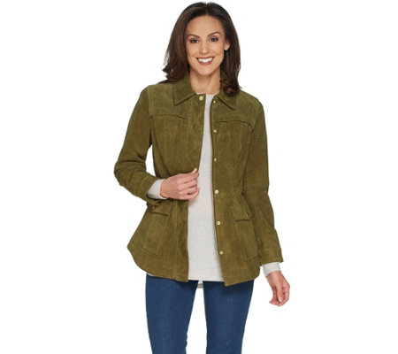 Isaac Mizrahi Live! Suede Anorak Jacket with Patch Pockets