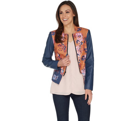 G.I.L.I. Faux Leather Mixed Floral Print Jacket