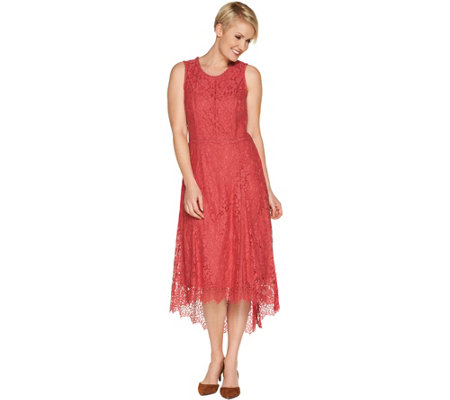 Isaac Mizrahi Live Pee Hi Low Lace Maxi Dress
