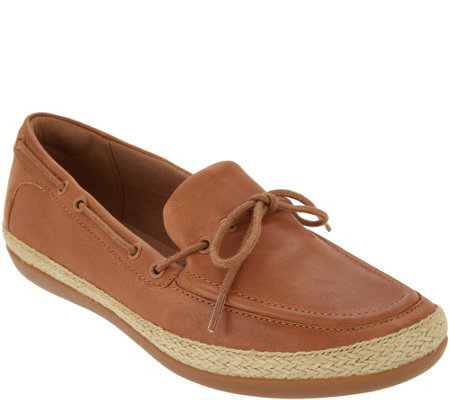 Clarks Leather Espadrille Slip-On Shoes - Danelly Bodie