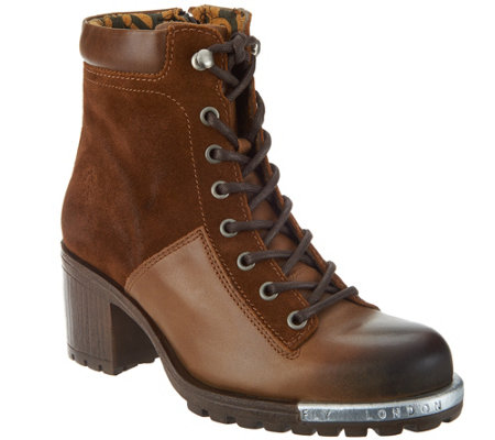 """As Is"" FLY London Leather Lace-up Ankle Boots- Leal"