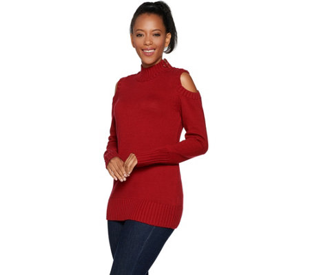 """As Is"" Susan Graver Cotton Acrylic Mock Neck Cold ShoulderSweater"