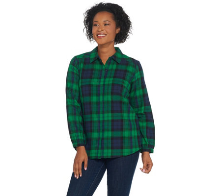 Joan Rivers Perfect Plaid Shirt with Long Sleeves