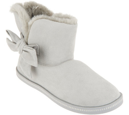 Skechers Faux Fur Slipper Boots with Tie Cozy Campfire —