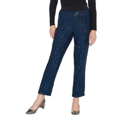 Bob Mackie Petite All Over Sequin Pants