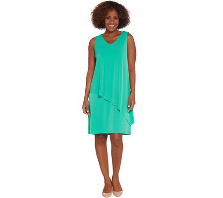 """As Is"" Susan Graver Liquid Knit Tiered  Hem Dress"