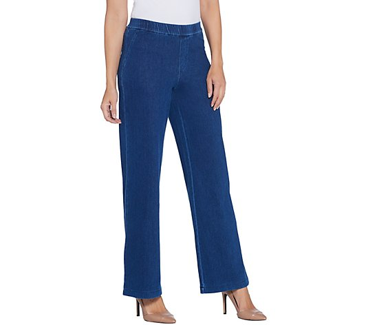 H by Halston Regular Knit Denim Pull-On Wide Leg Full Length Jeans