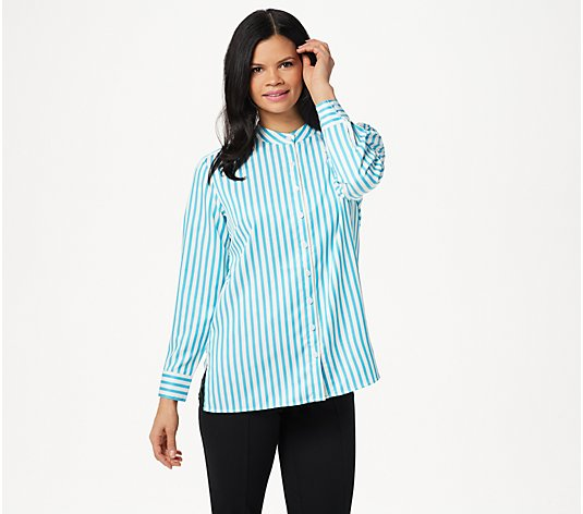 Linea by Louis Dell'Olio Stand Collar Striped Shirt With Back Box Pleat