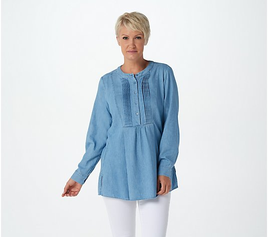 Joan Rivers Long Sleeve Denim Shirt with Pintuck Detail