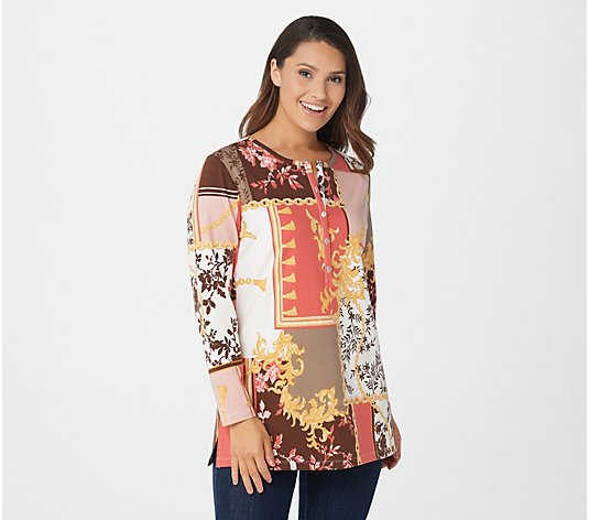 Denim & Co. Printed Jersey Long-Sleeve Henley Tunic