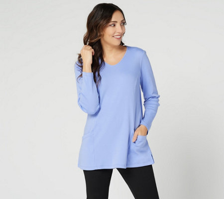 """As Is"" Denim & Co. Essentials Interlock Tunic with Angled Pockets"
