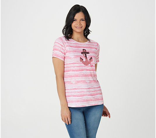 Quacker Factory Watercolor Printed Top with Embroidery