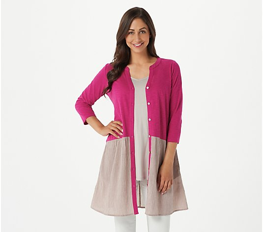 LOGO by Lori Goldstein Cotton Slub Cardigan with Woven Panel