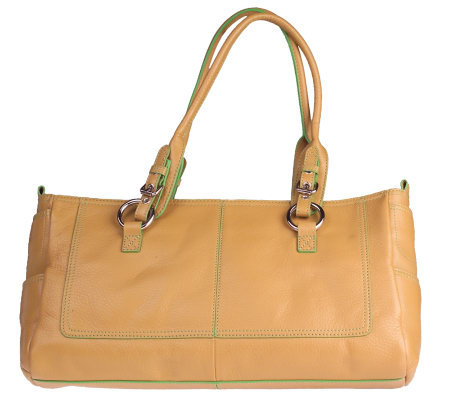 fc39ead4d415 Hype Leather Double Handle Tote Bag with Ring Accents — QVC.com