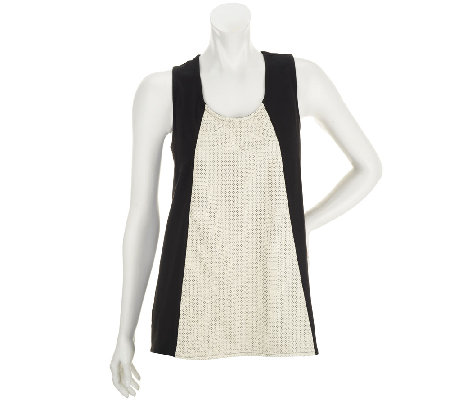 Edge by Jen Rade Sleeveless Knit Top with Faux Leather Panel