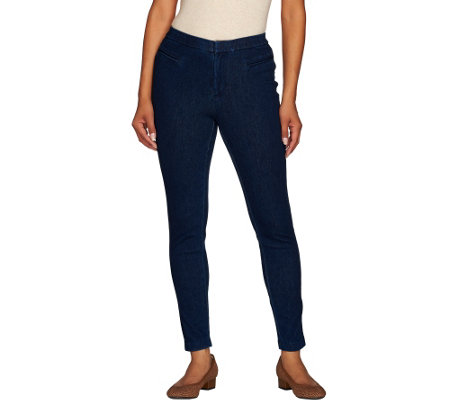 Isaac Mizrahi Live! Regular Knit Denim Ankle Jeans