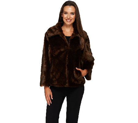 Dennis Basso Platinum Chevron Cut Faux Fur Shrug Jacket