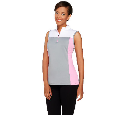 """As Is"" Denim & Co. Active/Golf Color-Block Sleeveless Top"