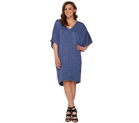 H by Halston Melange Knit V-Neck Dress