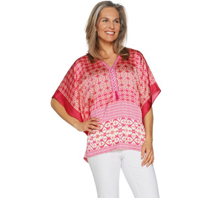 Susan Graver Printed Charmeuse Scarf Top