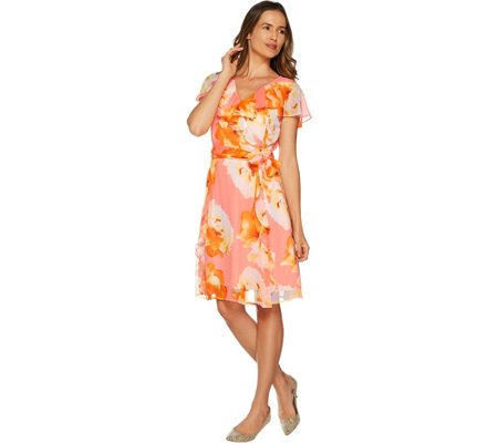 Isaac Mizrahi Live! Exploded Floral Chiffon Ruffle Dress