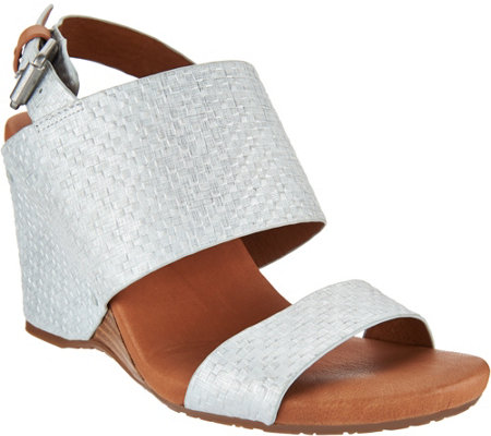Gentle Souls Leather Covered Wedge Sandals - Inka