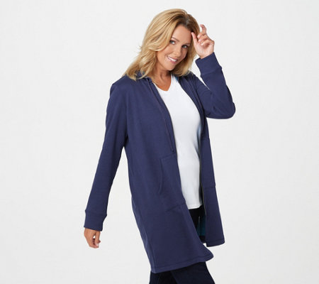 Logo Lounge By Lori Goldstein French Terry Long Hooded Jacket