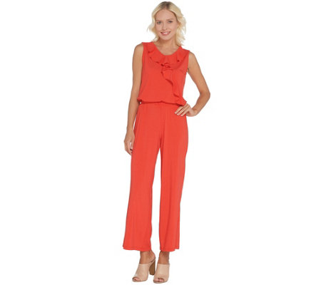Joan Rivers Sleeveless Jersey Regular Ankle Jumpsuit w/ Ruffle
