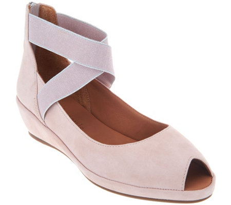 Gentle Souls Leather Peep Toe Wedges - Lisa