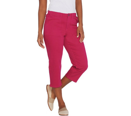 Susan Graver Regular Stretch Twill Capris Jeans