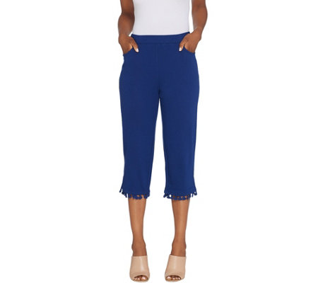 Quacker Factory French Terry Capri Pants with Tassel Trim