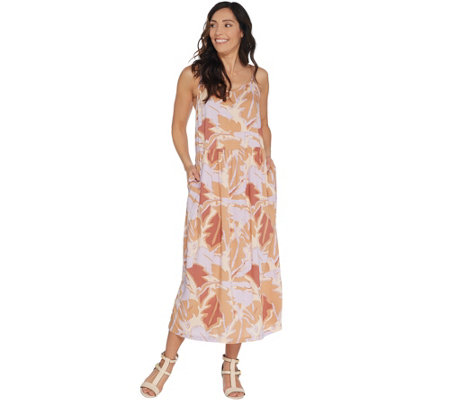 LOGO by Lori Goldstein Challis Printed Camisole Dress w/ Side Slits
