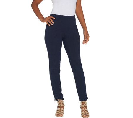 Women with Control Regular Slim Leg Ankle Pants with Faux Back Pockets