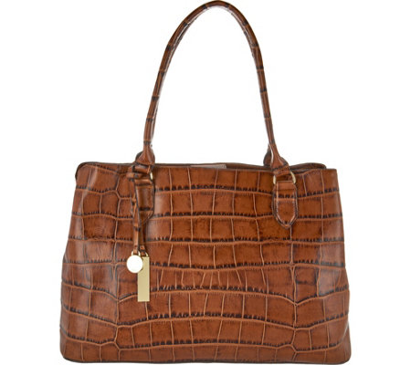 """As Is"" G.I.L.I. Leather E/W Croco Embossed Shopper"