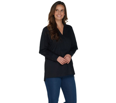 Martha Stewart Stretch Poplin Collared Long Sleeve Tunic
