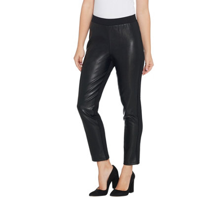 Joan Rivers Regular Joan's Signature Ankle Pant w/ Faux Leather Front