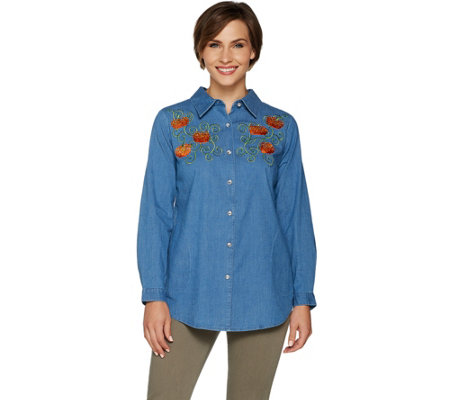 """As Is"" Quacker Factory Button Front Denim Tunic with Front Motif"