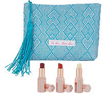 Josie Maran Lip Butter Trio w/ Makeup Bag - A344380