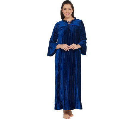 Bob Mackie Pleated Velvet Robe with Ruffle Neck and Sleeves
