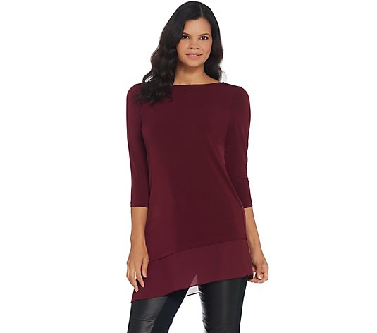 Every Day by Susan Graver Liquid Knit Tunic with Chiffon Trim