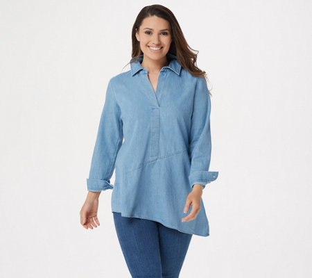 Joan Rivers Denim Tunic with Asymmetric Hem