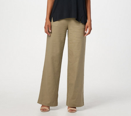 H by Halston Regular Linen Blend Pull-On Full-Length Wide-Leg Pants